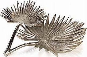 Zodax Sonora Fan 2-Tier Condiment, Silver Palm Leaf Design Decorative Tray