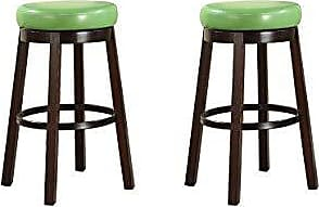 Round Hill Furniture Wooden Swivel Barstools, Bar Height, Lime Green, Set of 2