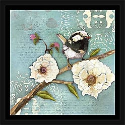 EAZL Bird on Branch with Flowers on Abstract Floral Pattern Blue, Framed Canvas Art by Pied Piper Creative