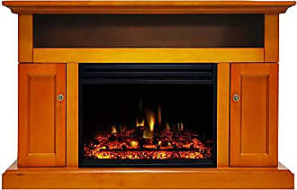 Cambridge Silversmiths Sorrento Heater with 47-in. Teak TV Stand, Enhanced Log Display, Multi-Color Flames and a Remote Control, CAM5021-2TEKLG3 Electric Fireplace