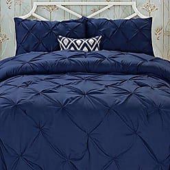Elegant Comfort Wrinkle Resistant - All Season Luxury Silky Soft Pintuck 3-Piece Comforter Set - Full/Queen, Navy Blue