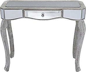 Heather Ann Creations W192154-WW 30.7 White Wash Katrina Collection Console Living Room Office Writing Table with Drawer and Mirror Accents