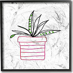 Stupell Industries Stupell Home Décor Pink Pot Succulent Line Drawing Framed Giclee Texturized Art, 12 x 1.5 x 12, Proudly Made in USA