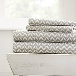 iEnjoy Home 4 Piece Sheet Set Puffed Chevron Patterned, Queen, Gray