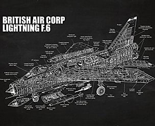 Inked and Screened SP_Avia F.6_CH_24_W British Air Corp-Lightning-F.6 Print, 18 x 24, Chalkboard-White Ink