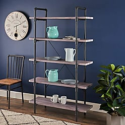 Christopher Knight Home 305316 Clint Faux Wood Industrial Five Tier Shelf, Light Gray Finish, Texture Black