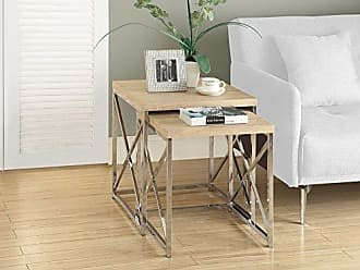 Monarch Specialties I 3205, Nesting Table, Chrome Metal, Natural, Table Set, 2 pcs