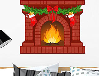 Wallmonkeys Christmas Fireplace Wall Decal Peel and Stick Graphic WM146350 (24 in W x 20 in H)