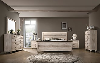 Overstock Imerland Contemporary White Wash Finish 6-Piece Bedroom Set, Queen