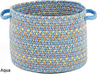 Rhody Rug Sandbox Aqua Blue Multi 18 x 12 Basket