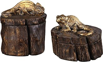 Uttermost Chameleon Gold and Wood Tone Boxes S/2