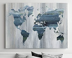 WEXFORD HOME Textural World Map - Premium Gallery Wrapped Canvas Art Print, 36X48, Blue