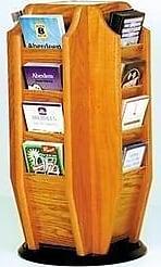 Wooden Mallet Cascade Spinning Countertop Display with 16-Brochure Pockets, Medium Oak