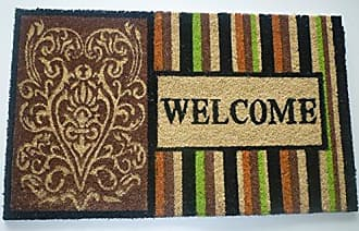 Geo Crafts Vinyl Back Striped Welcome Doormat