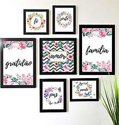Los Quadros Kit de Quadros Decorativos 7 Peças Floral Los Quadros Preto