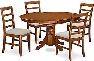 East West Furniture AVPF5-SBR-C 5 Piece Set Avon Table Featuring Leaf And 4 Cushioned Seat Dinette Chairs In Saddle Brown
