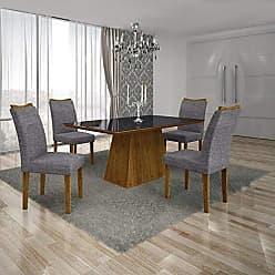 Leifer Conjunto Sala de Jantar Mesa Tampo MDF/Vidro Preto 4 Cadeiras Pampulha Leifer Canela/Linho Cinza