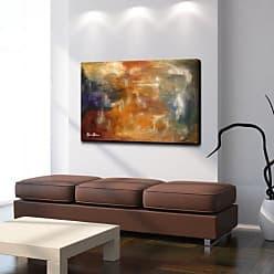 Ready2HangArt Smash XVII Abstract Modern Contemporary Canvas Wall Art Print, 30 x 40, Brown