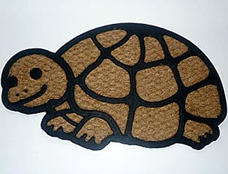 Geo Crafts Rubber Back Shaped Turtle-Flat Weave Doormat