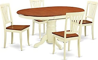 East West Furniture AVON5-WHI-W 5Piece Dinette Table with Leaf & 4 Wood Seat Chairs in a Beautiful Buttermilk & Cherry Finish
