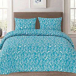 Sweet Home Collection Duvet Cover 3 Piece Set Unique Stylish Tropical Leaf Teal Pattern, Full/Queen