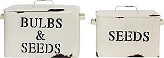 Creative Co-op Decorative Metal Bulbs & Seeds & Seeds Boxes with Lids (Set of 2 Sizes) Containers, Cream