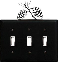 Village Wrought Iron 8 Inch Pinecone Triple Switch Cover