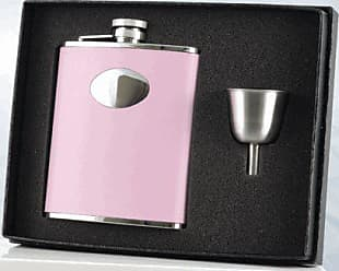 Visol Products Visol Carly Leather Stainless Steel Flask and Funnel Gift Set, 6-Ounce, Pink