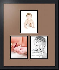 Art to Frames Double-Multimat-1667-767/89-FRBW26079 Collage Photo Frame Double Mat with 3-6x8 Openings and Satin Black Frame