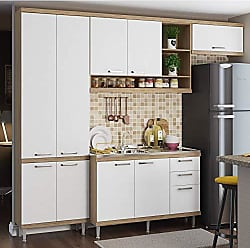 Multimóveis Cozinha Completa com Balcão sem Tampo 4 Peças 9 Portas Sicília Multimóveis Argila/Branco