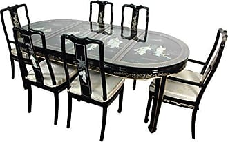 Oriental Furniture ORIENTAL Furniture Black Mother of Pearl Lacquer Dining Room Set