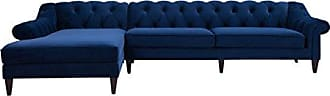 Jennifer Taylor Home 66070-L-859 Alexandra Classic Upholstered Left Facing Sectional, Navy Blue