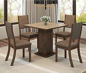 Viero Conjunto Sala de Jantar Mesa Quadrada Tampo MDF Luana 4 Cadeiras Kiara Viero Grigio/Canela/Vidro Bronze