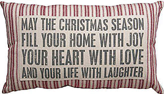 Primitives By Kathy Striped May The Christmas Season Holiday Throw Pillow