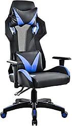 Pelegrin Cadeira Gamer Pelegrin Em Couro PU Reclinável PEL-3014 Preta E Azul