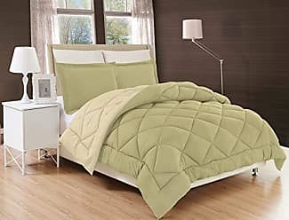 Elegant Comfort All Season Comforter and Year Round Medium Weight Super Soft Down Alternative Reversible 3-Piece Comforter Set, King, Sage/Cream