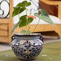 Novica Ceramic flower pot, Garden Blues
