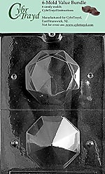 CybrTrayd W026-6BUNDLE 3D Diamond Chocolate Candy Mold with Exclusive Copyrighted Chocolate Molding Instructions, Large
