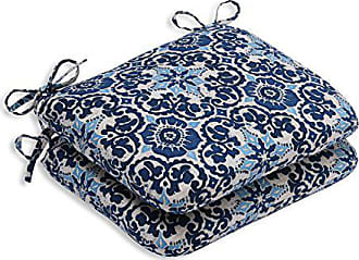 Pillow Perfect Outdoor/Indoor Woodblock Prism Rounded Corners Seat Cushion (Set of 2), Blue