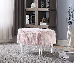 Iconic Home FON2644-AN Fiorino Modern Contemporary Faux Fur Acrylic Leg Ottoman, Pink