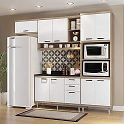 Multimóveis Cozinha Completa com Balcão com Tampo 5 Peças 9 Portas Sicília Multimóveis Argila/Branco