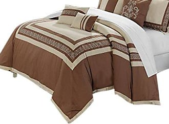 Chic Home 7-Piece Venice Embroidered Comforter Set, Queen, Taupe Beige