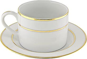 10 Strawberry Street Double Gold Line 6 Oz Can Cup and Saucer, Set of 6, White/Gold