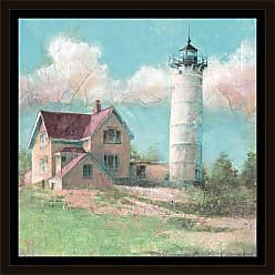 EAZL Vintage Lighthouse on Hill Sunny Day Colorful Coastal Distressed Painting Blue & Green, Framed Canvas Art by Pied Piper Creative