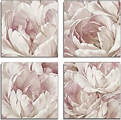 WEXFORD HOME Intimate Blush Flower Spring Collection Canvas Print 4 Panels Set Décor for Home Office Wall Art, 12X12, Frameless