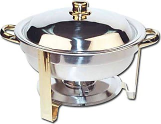 Winco USA Winco Winware 4 Quart Round Stainless Steel Gold Accented Chafer