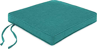 Jordan Manufacturing Company Polyester Deluxe Chair Cushion w/Ties, 20.5 x 20.5 x 2.5, Teal