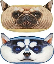 Wrapables Dog Face Zippered Pencil Case (Set of 2), Pug & Husky