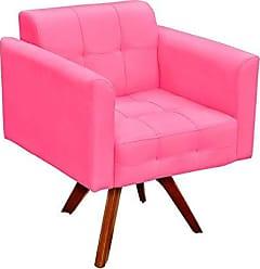 D'Rossi Poltrona Decorativa Giratória Gran Elisa Base Madeira Suede Rosa Barbie - DRossi