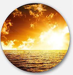DESIGN ART Designart Fiery Sunlight in Beach During Sunset Seashore Round Wall Art Disc of 11 inch, 11 H x 11 W x 1 D 1P, Blue/Orange